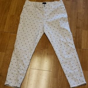 NYDJ white high rise anchor print ankle jeans 14